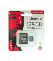 Карта памяти microSDXC 128Gb KINGSTON Canvas Select Class 10 UHS-I U1 80Mb/s с адаптером