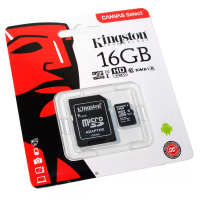 Карта памяти microSDHC 16Gb KINGSTON Canvas Select Class 10 UHS-I U1 80Mb/s с адаптером